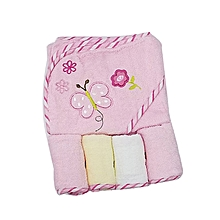 Hooded Baby Towel with 4 Washclothes - Pink .