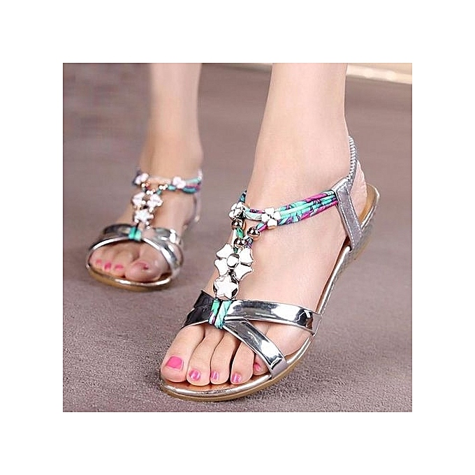 2ccfeba58 Blicool Shop Women Sandals Women Flowers Printing Slipper Summer Bohemian Sandals  Beach Shoes SL -