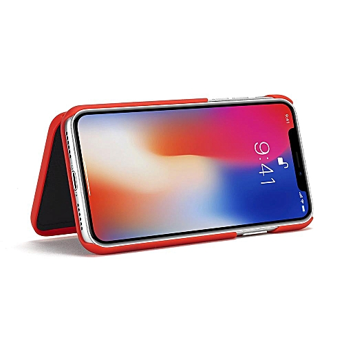 timeless design 195b9 7da0b Hidden Back Mirror Wallet Case With Stand Feature And Card Holder For for  iphone X (Red)