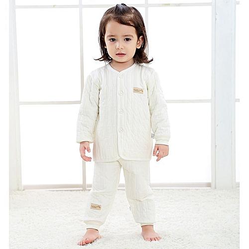 10ec053b33c Fashion (Shirt + Pants) Baby Boys Girl Clothing Set Children Thicken Winter  Warm Clothes - white