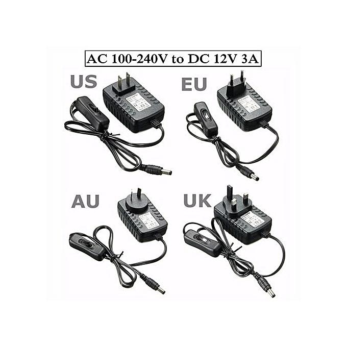 AC100-240V To DC 12V 3A Power Supply Adapter On/Off Switch F/ Light LED  Strip 3A UK Plug