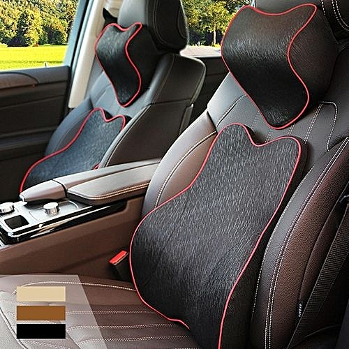 Memory Foam Car Seat Cushion Lumbar Back Support Head Rest Neck Pillow Sets Black
