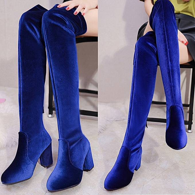 ae4d1edcab55 ... Winter Women Thigh High Boots Over The Knee Boot Stretch Flock High  Heels Shoes- Blue ...