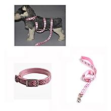 2pcs/set Pet Dog Fluorescent Reflective Collar Drawstring Traction Rope Leash Ha