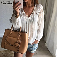 ZANZEA Autumn Shirts Women Casual Loose Patchwork Lace Crochet Blouses V Neck Long Sleeve Tee Tops (White)
