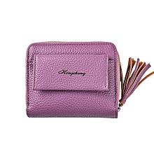 Technologg Wallet  Women Zipper Leather Wallet Clutch Purse Lady Short Handbag Bag-Purple
