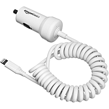 AmazonBasics Coiled Cable Lightning Car Charger for portable Apple devices - 5V 12W - 1.5 Foot (0.45 Meters) - White