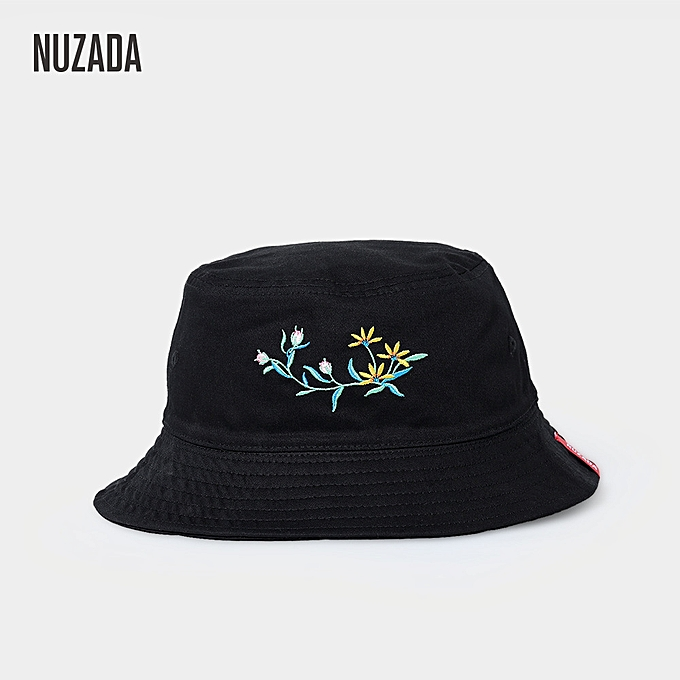 4d65fd9d14f Double-Sided Simple Fisherman Cap Outdoor Folding Embroidered Bucket Hat  Black ...