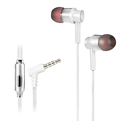KSD - A23 On-cord In-ear Earphones with Microphone for Universal 3.5mm Connector Type - SILVER