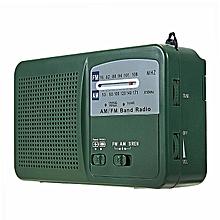 Mini Emergency Solar Hand Crank Dynamo AM/FM Radio LED Flashlight USB Charger Green