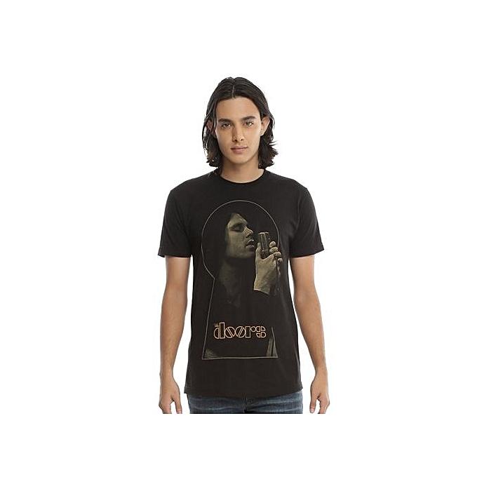 ad94ec5f2 Men's Cotton T-shirt The Doors Keyhole T-Shirt Short Sleeve Black Funny T