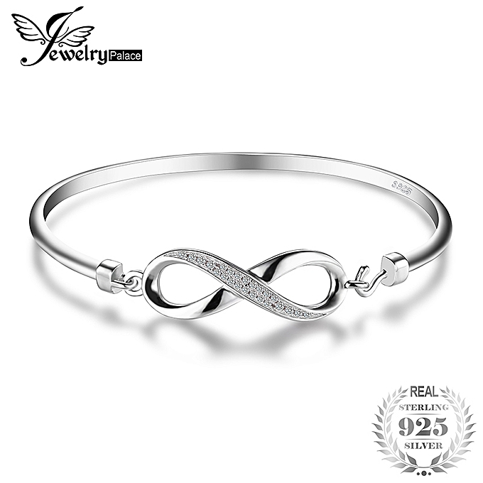 352cf60fd Forever Love Infinity Cubic Zirconia Anniversary Bangle Bracelet 925  Sterling Silver