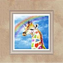 Rainbow Giraffe DIY 5D Full Drill Diamond Cross Stitch 30*40cm D217 multicolor