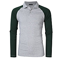 Yong Horse Men's Two Tone Color Blocked Modern Fit Long Sleeve Polo Shirt Color:Gray With Green Sleeves Size:S