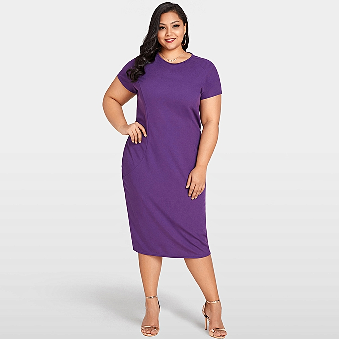 769edc404bdc2 Fashion New Sexy Women Plus Size Bodycon Dress O Neck Short Sleeve Back  Zipper Cocktail Evening Party Dress Purple
