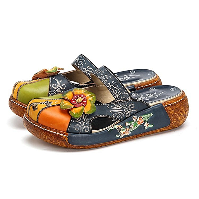 b0b28ac97da7 SOCOFY Women Summer Leather Sandals Slippers Flower Hollow Out Backless  Shoes ...