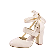 Generic Women's Fashion Heeled Sandals Ankle Strap Dress Sandals for Party Wedding A1