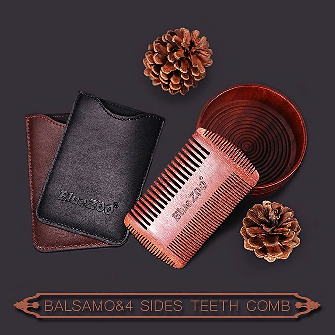 Care For Red Sandalwood Double-sided Comb Beard Comb Portable Man Care black