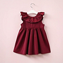 0622bd2d36 Baby Kid Girls Sleeveless Dress Solid Color Backless Bowknot Tutu Dress  wine red 120cm