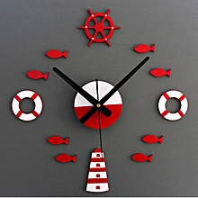 Mediterranean DIY 3D Wall Clock Home Wall Stickers Decoration Art Clock Red-red