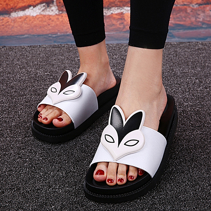 b4c4400cc7ac7c Fashion birthpar store Women Summer Slippers Sexy Flat Heels Sandals  Comfort Flat Heels Shoes WH 37 -White