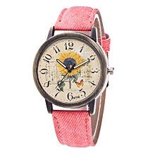 Watch Fashion Women's Watch Silicone Printed Flower Causal Quartz Analog Wrist Watches-pink