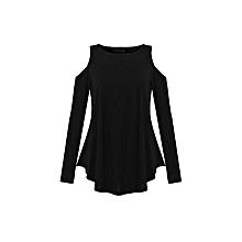ZANZEA Women Elegant Blusas Tops Autumn Ladies Sexy Tunic Off Shoulder Long Sleeve Pullover Casual Loose Blouse Shirts (Black)