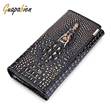 Men Leather Cover Snap Fastener Clutch Wallet - Bronze-Colored