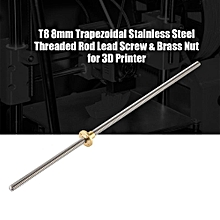 Screw Rod T8 8mm Trapezoidal Stainless Steel Threaded Rod Lead Screw & Brass Nut for 3D Printer 400mm