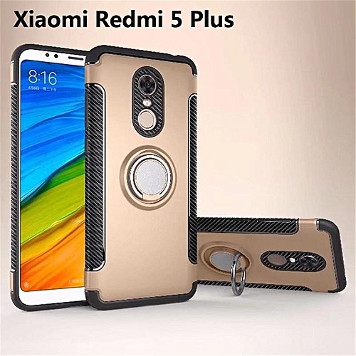 new style d9a48 fed7a For Xiaomi Redmi 5 Plus Car Mount Shockproof Ring Holder Protective Case  Cover (Gold)