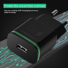 LED Quick Charge Universal Mobile Phone Charger Single-port EU Plug QC3.0 (100-240V) (Black) Charger