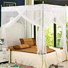 Mosquito net with straight metallic stands -White