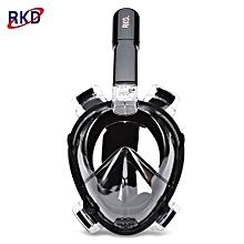 RKD Anti Fog Detachable Dry Snorkeling Full Face Mask Set_FULL BLACK_M