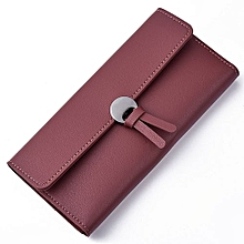 Fohting Women Fashion Leather Wallet Leisure Clutch Bag Long Purse -Red