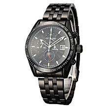 IK Luxury Brand Sport Men Automatic Skeleton Mechanical Military Watch Men Full Steel Stainless Band Business Calendar Reloj(Black)