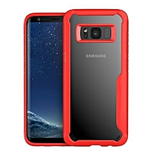 Samsung Galaxy S8 Silicon Transparent Case, PC And TPU Anti-knock Phone Back Cover For Samsung Galaxy S8-red.