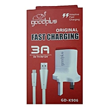 FAST FLASH 3 PIN CHARGER for infinix, samsung, tecno - WHITE