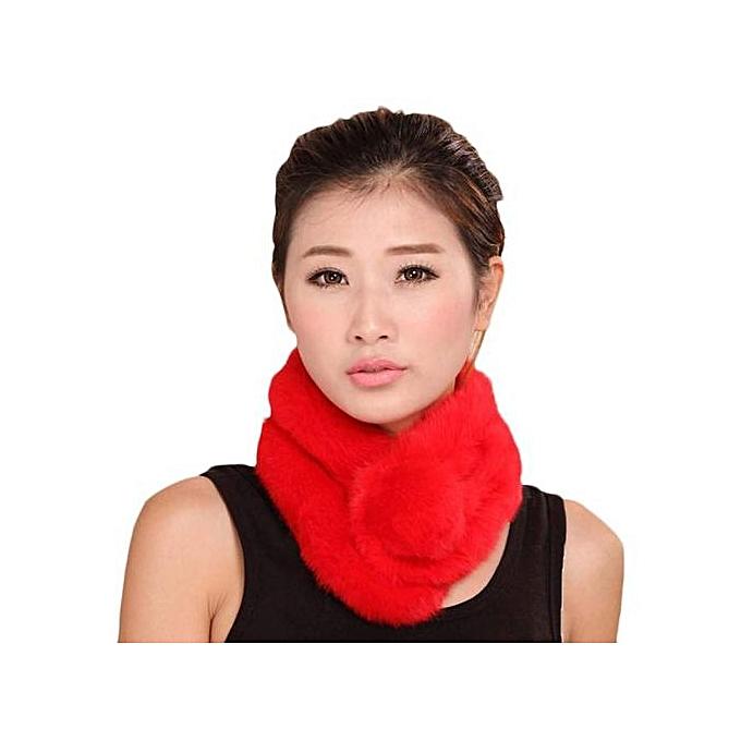 4b6338f09cb Hiaojbk Store Women Winter Scarf Lady Casual Fur Scarves Fur Ball Velvet  Scarf Red-Red