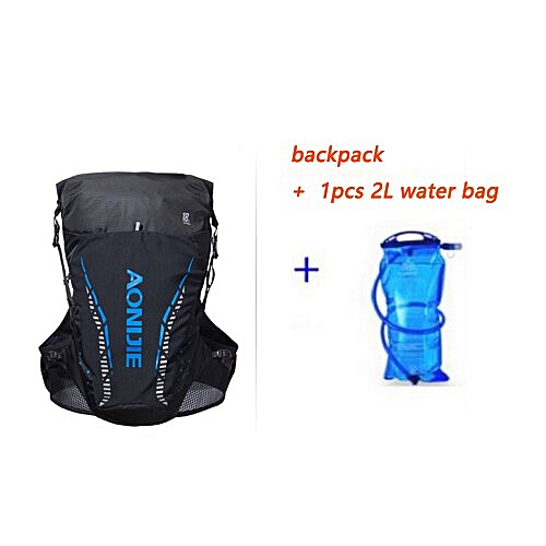 AONIJIE Pro Outdoor Lightweight Hydration Backpack Rucksack Bag Vest for 2L Water Bladder Hiking Camping Running Marathon Race(blue with water bag)
