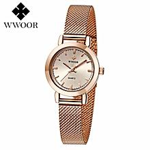 New WWOOR 8823 Women's Watch Ultra Thin Stainless Steel Quartz Watch Lady Casual Hours Bracelet Watches Women Lover's Female Clock Gift