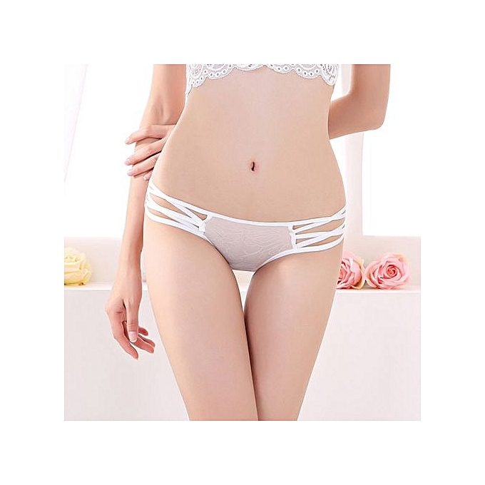 d3da21984265 Refined Sexy Cute Ladies Panties With Briefs Low Waist Women's Underwear  Perspective Pants-white