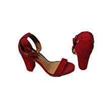 Burgundy Open Toe Suede Ankle Strap Heels Shoes
