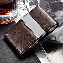 Pocket PU Leather ID Credit Card Holder Wallet Storage Case Box Container Coffee