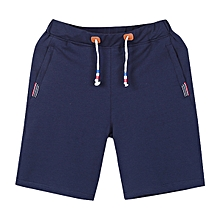 Summer Men's Casual Loose Cotton Short Pants Solid Color Breathable Sports Beach Shorts