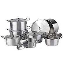 14 Pcs Stainless Aluminium Cookware Pot Sufuria Set - Silver