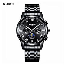 WLISTH Black Metal Watch Men Watches Luxury Famous Top Brand Men's Fashion Casual Dress Watch Military Quartz Wristwatches Saat 509
