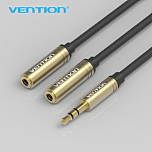 Vention BBB 0.3M Audio Cable Jack 3.5mm Male to 2 Female Earphone Extension Cable 3.5mm Headphone Splitter Adapter for Moblie Phones Tablets(White/Black) ULINE