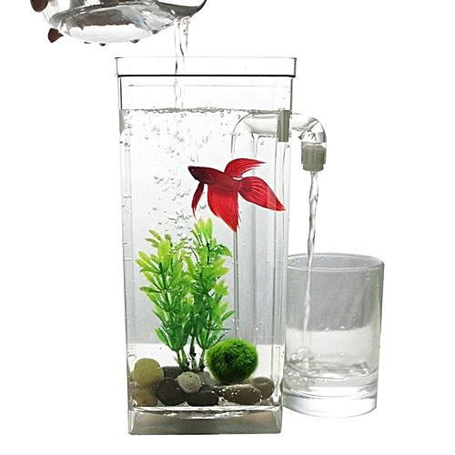 Self cleaning plastic fish tank desktop aquarium betta for Self cleaning betta fish tank