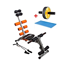 Six Pack Care Machine with Padels - Black & Orange + Free Ab Roller with Knee Mat