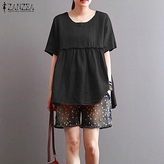 a12c208b0d8 ZANZEA Women Mori Vintage Solid Short Sleeve Top Tee T Shirt Tunic Blouse  ...